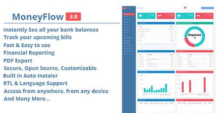 اسکریپت نرم افزار حسابداری PHP آنلاین MoneyFlow نسخه 3.0