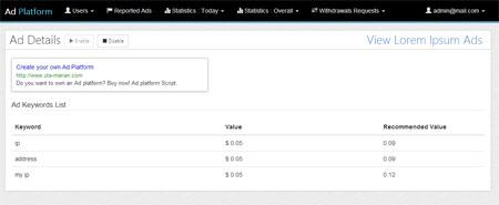 اسکریپت راه اندازی شبکه تبلیغات کلیکی Advertising Platform