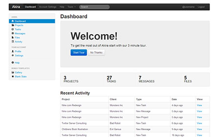 قالب زیبای مدیریت وب سایت Akira به صورت HTML با فریم ورک Bootstrap