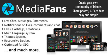 mediafans script اسکریپت جامعه مجازی چند رسانه ای MediaFans