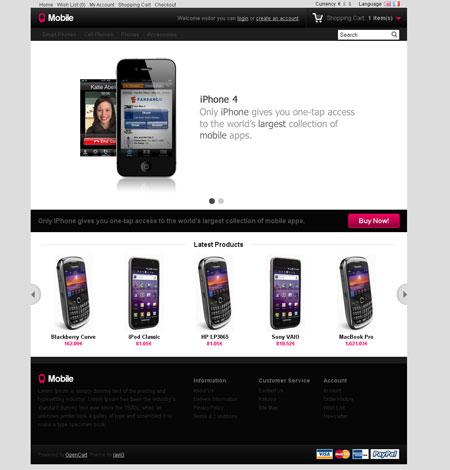 قالب زیبای موبایل برای سیستم فروشگاه ساز اوپن کارت