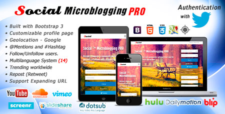اسکریپت شبکه اجتماعی Social Microblogging PRO نسخه 1.5