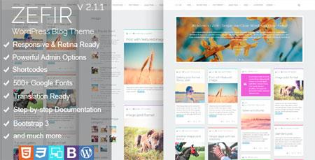 پوسته وبلاگی Zefir وردپرس نسخه 2.0