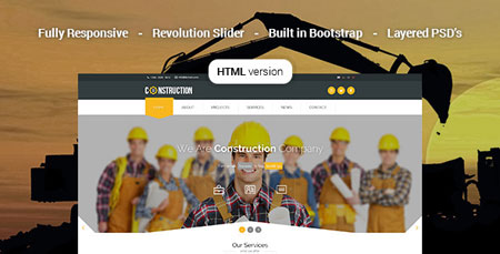 قالب سایت شرکتی Construction به صورت HTML