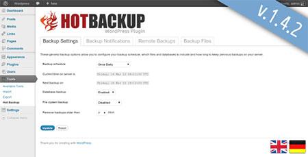 افزونه مدیریت و پشتیبان گیری از وردپرس Hot Backup Manager